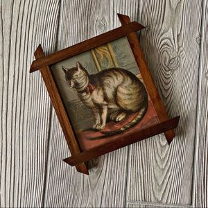Vintage Cat Art in Distressed Wooden Frame